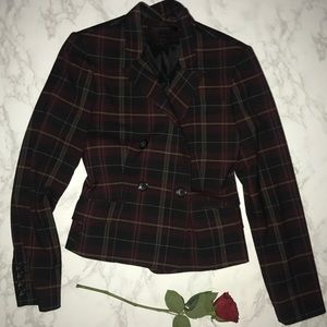 Express red gold gray plaid blazer jacket editor 2